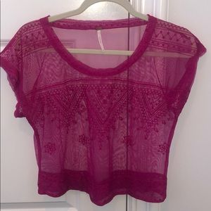 Free People embroidered mesh top